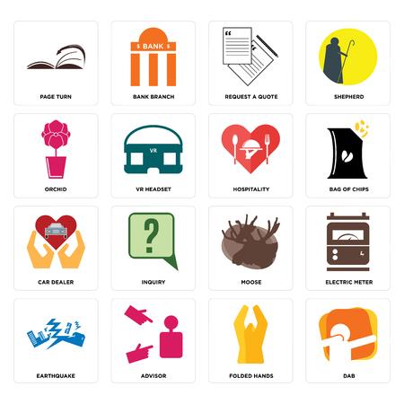 Ensemble de 16 icônes modifiables simples telles que dab, mains jointes, conseiller, tremblement de terre, compteur électrique, tour de page, orchidée, concessionnaire automobile, hospitalité peut être utilisé pour mobile, interface utilisateur Web