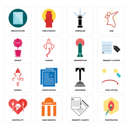 Set Of 16 simple editable icons such as penetration, request a quote, bank branch, hospitality, cost uction, specification, orchid, ganesh, penetration can be used for mobile, web UI