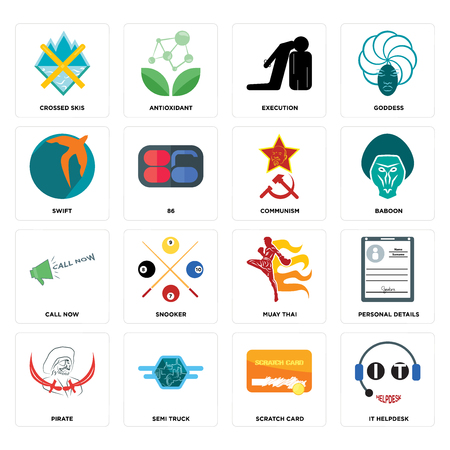 Set Of 16 simple editable icons such as it helpdesk, scratch card, semi truck, pirate, personal details, crossed skis, swift, call now, communism can be used for mobile, web UI