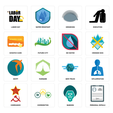 Set Of 16 simple editable icons such as personal details, baboon, commodities, communism, inflammation, labor day, scratch card, swift, no water can be used for mobile, web UI Stock Illustratie