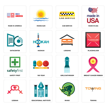 Set Of 16 simple editable icons such as towing, rhino, educational institute, lesbian, breast cancer ribbon, made in america, datacenter, safety first, lodging can be used for mobile, web UI