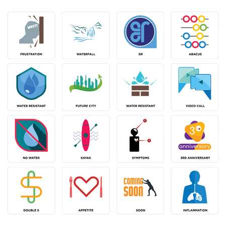 Set Of 16 simple editable icons such as inflammation, soon, appetite, double s, 3rd anniversary, frustration, water resistant, no water, resistant can be used for mobile, web UI
