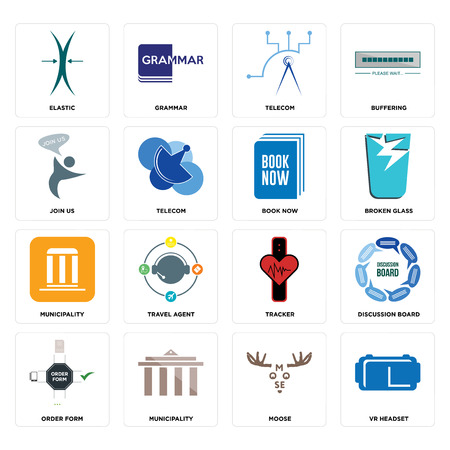 Set Of 16 simple editable icons such as vr headset, moose, municipality, order form, discussion board, elastic, join us, book now can be used for mobile, web UI