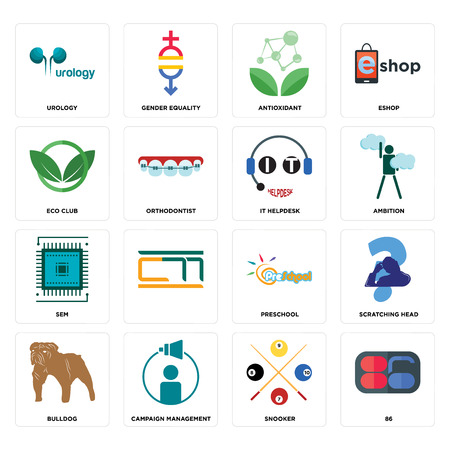 Set Of 16 simple editable icons such as 86, snooker, campaign management, bulldog, scratching head, urology, eco club, sem, it helpdesk can be used for mobile, web UI