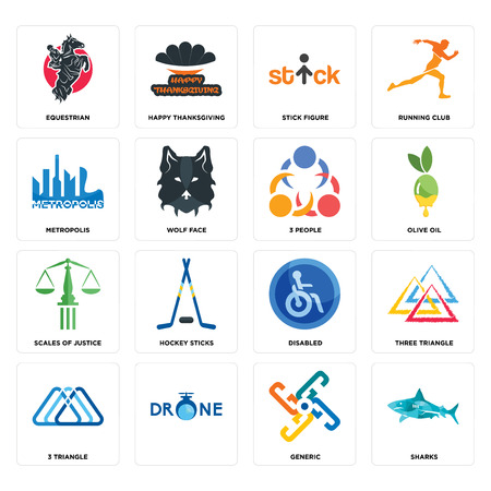 Set Of 16 simple editable icons such as sharks, generic, , 3 triangle, three equestrian, metropolis, scales of justice, people can be used for mobile, web UI