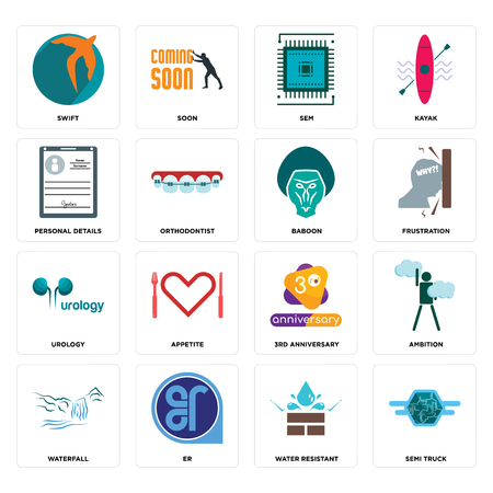 Set Of 16 simple editable icons such as semi truck, water resistant, er, waterfall, ambition, swift, personal details, urology, baboon can be used for mobile, web UI Illusztráció