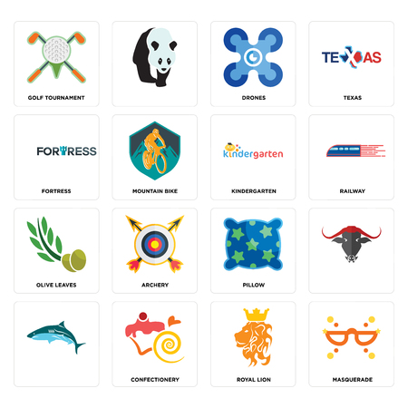 Set Of 16 simple editable icons such as masquerade, royal lion, confectionery, , golf tournament, fortress, olive leaves, kindergarten can be used for mobile, web UI