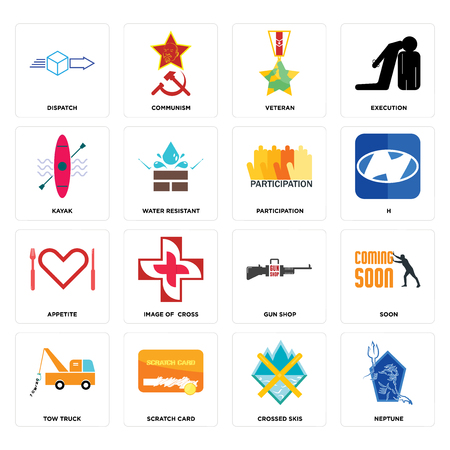 Set Of 16 simple editable icons such as neptune, crossed skis, scratch card, tow truck, soon, dispatch, kayak, appetite, participation can be used for mobile, web UI