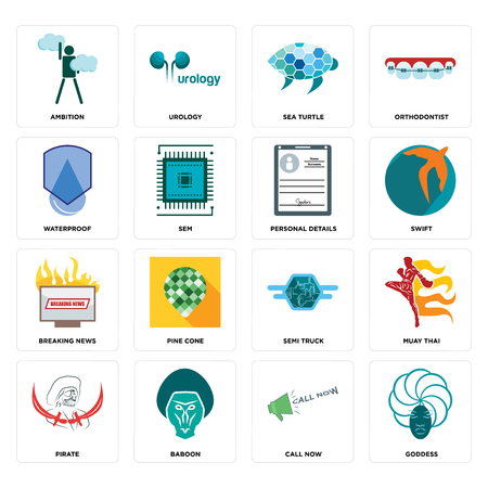 Set Of 16 simple editable icons such as goddess, call now, baboon, pirate, muay thai, ambition, waterproof, breaking news, personal details can be used for mobile, web UI
