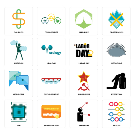 Set Of 16 simple editable icons such as abacus, symptoms, scratch card, sem, execution, double s, ambition, video call, labor day can be used for mobile, web UI