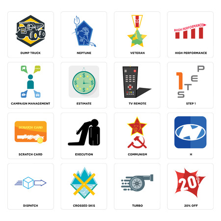 Set Of 16 simple editable icons such as 20% off, turbo, crossed skis, dispatch, h, dump truck, campaign management, scratch card, tv remote can be used for mobile, web UI Ilustração