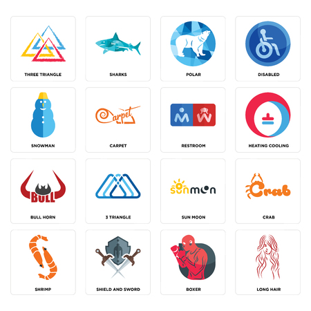Set Of 16 simple editable icons such as long hair, boxer, shield and sword, shrimp, crab, three triangle, snowman, bull horn, restroom can be used for mobile, web UI