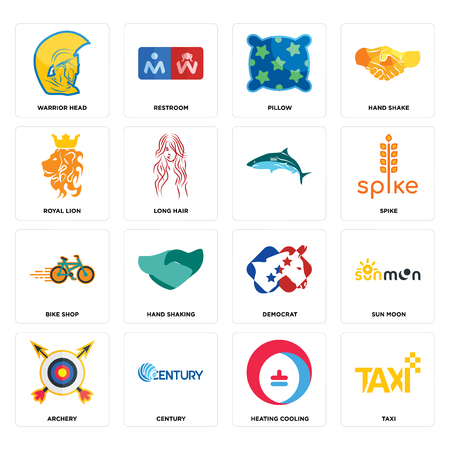 Set Of 16 simple editable icons such as taxi, heating cooling, century, archery, sun moon, warrior head, royal lion, bike shop, can be used for mobile, web UI Illustration
