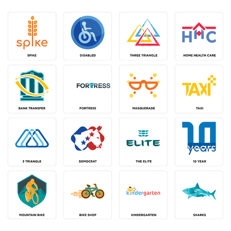 Set Of 16 simple editable icons such as sharks, kindergarten, bike shop, mountain bike, 10 year, spike, bank transfer, 3 triangle, masquerade can be used for mobile, web UI Illusztráció