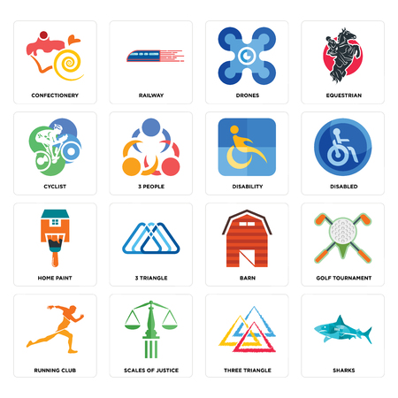 Set Of 16 simple editable icons such as sharks, three triangle, scales of justice, running club, golf tournament, confectionery, cyclist, home paint, disability can be used for mobile, web UI Иллюстрация
