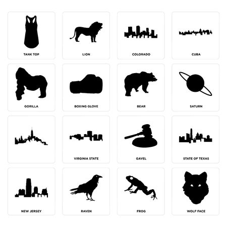Set Of 16 simple editable icons such as wolf face, frog, raven, new jersey, state of texas, tank top, gorilla, , bear can be used for mobile, web UI Stock Illustratie
