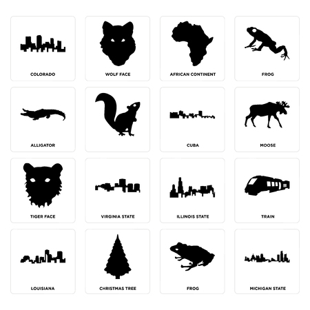 Set Of 16 simple editable icons such as michigan state, frog, christmas tree, louisiana, train, colorado, alligator, tiger face, cuba can be used for mobile, web UI