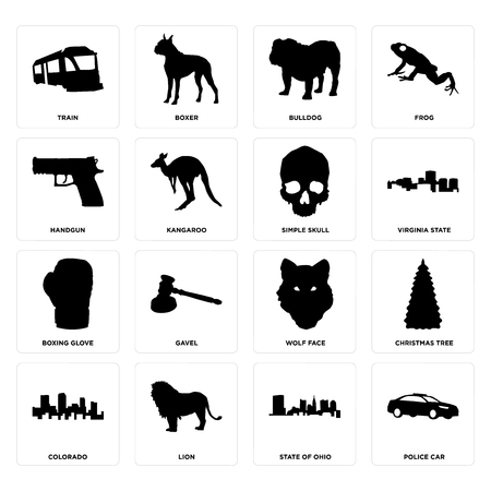 Set Of 16 simple editable icons such as police car, state of ohio, lion, colorado, christmas tree, train, handgun, boxing glove, skull can be used for mobile, web UI