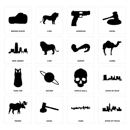 Set Of 16 simple editable icons such as state of texas, cuba, gavel, moose, ohio, boxing glove, new jersey, tank top, shrimp can be used for mobile, web UI  イラスト・ベクター素材