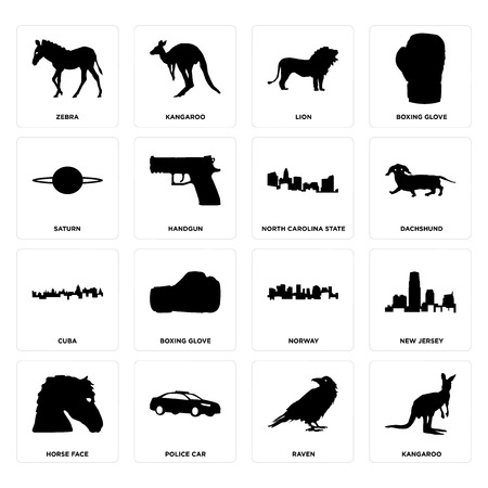 Set Of 16 simple editable icons such as kangaroo, raven, police car, horse face, new jersey, zebra, saturn, cuba, north carolina state can be used for mobile, web UI