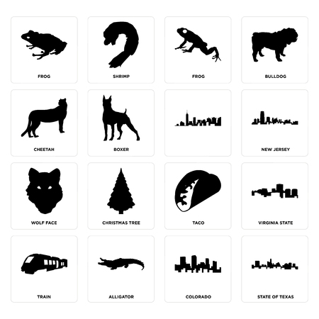 Set Of 16 simple editable icons such as state of texas, colorado, alligator, train, virginia state, frog, cheetah, wolf face, can be used for mobile, web UI
