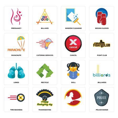 Set Of 16 simple editable icons such as police badge, , thanksgiving, tire business, billiards, pregnancy, parachute, lungs, cancel can be used for mobile, web UI