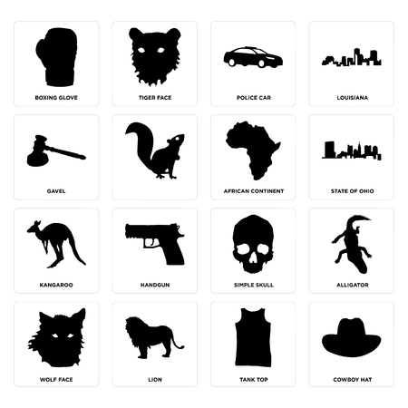 Set Of 16 simple editable icons such as cowboy hat, tank top, lion, wolf face, alligator, boxing glove, gavel, kangaroo, african continent can be used for mobile, web UI