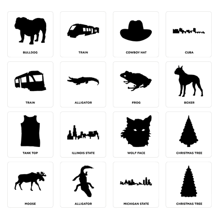 Set Of 16 simple editable icons such as christmas tree, michigan state, alligator, moose, bulldog, train, tank top, frog can be used for mobile, web UI