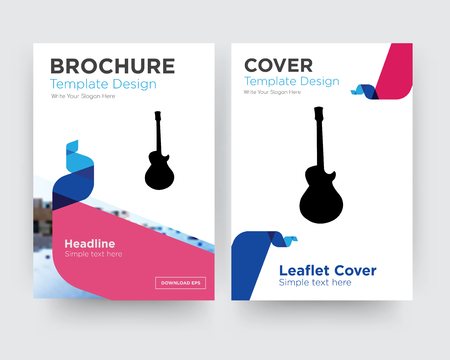 image les paul brochure flyer design template with abstract photo background, minimalist trend business corporate roll up or annual report