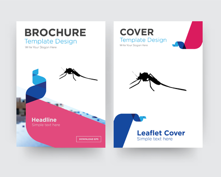 mosquito brochure flyer design template with abstract photo background, minimalist trend business corporate roll up or annual report
