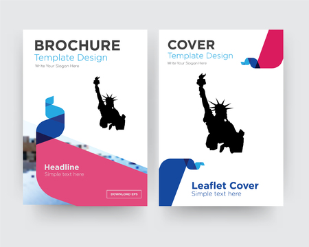 statue of liberty brochure flyer design template with abstract photo background, minimalist trend business corporate roll up or annual report