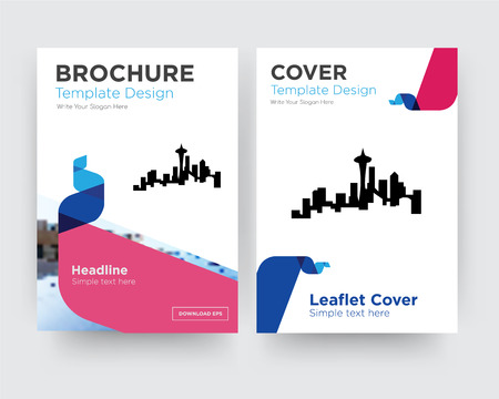 seattle brochure flyer design template with abstract photo background, minimalist trend business corporate roll up or annual report