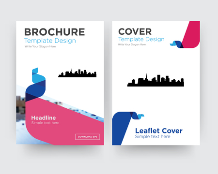 st paul brochure flyer design template with abstract photo background, minimalist trend business corporate roll up or annual report
