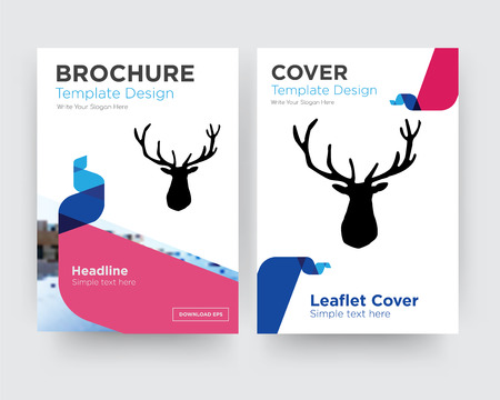 elk head brochure flyer design template with abstract photo background, minimalist trend business corporate roll up or annual report