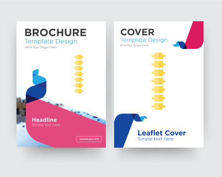 spine brochure flyer design template with abstract photo background, minimalist trend business corporate roll up or annual report