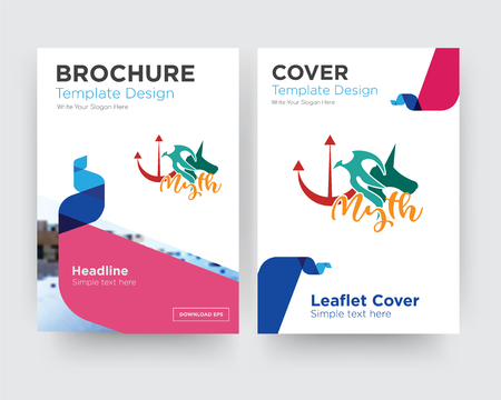 myth brochure flyer design template with abstract photo background, minimalist trend business corporate roll up or annual report