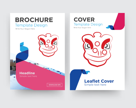 lion dance brochure flyer design template with abstract photo background, minimalist trend business corporate roll up or annual report Illustration