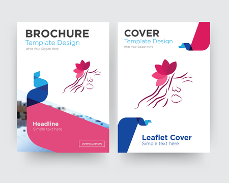 parlour brochure flyer design template with abstract photo background, minimalist trend business corporate roll up or annual report  イラスト・ベクター素材