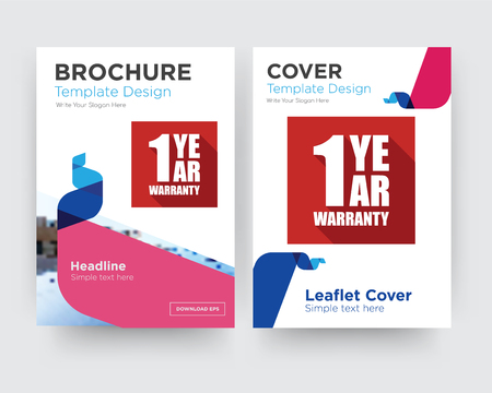 1 year warranty brochure flyer design template with abstract photo background, minimalist trend business corporate roll up or annual report