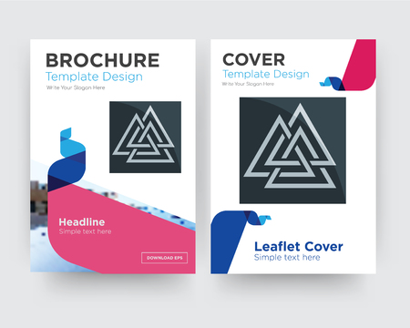 valknut brochure flyer design template with abstract photo background, minimalist trend business corporate roll up or annual report Vettoriali
