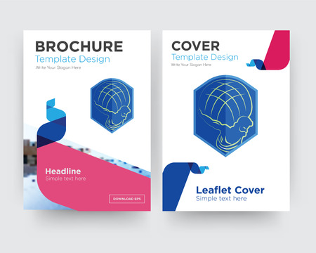 atlas brochure flyer design template with abstract photo background, minimalist trend business corporate roll up or annual report