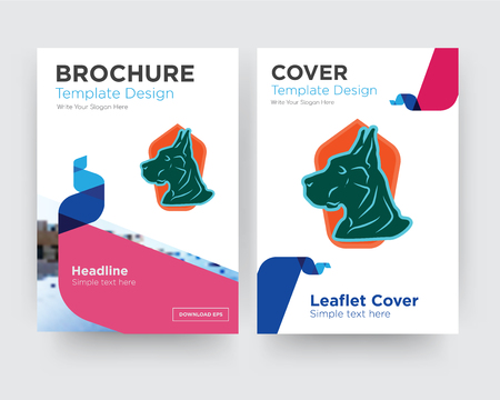 great dane brochure flyer design template with abstract photo background, minimalist trend business corporate roll up or annual report