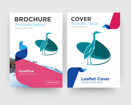 heron brochure flyer design template with abstract photo background, minimalist trend business corporate roll up or annual report