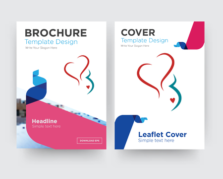 gynecology brochure flyer design template with abstract photo background, minimalist trend business corporate roll up or annual report 向量圖像