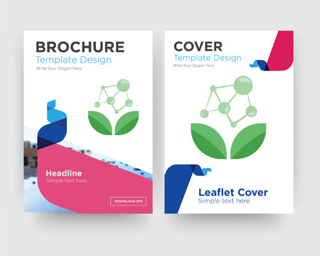 antioxidant brochure flyer design template with abstract photo background, minimalist trend business corporate roll up or annual report