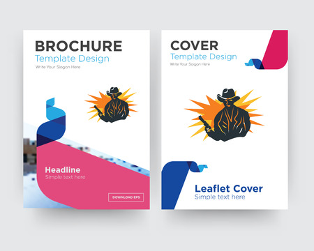 outlaw brochure flyer design template with abstract photo background, minimalist trend business corporate roll up or annual report Illustration