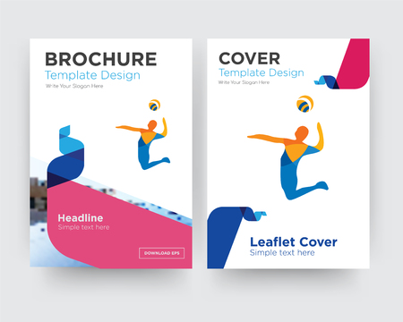 volley brochure flyer design template with abstract photo background, minimalist trend business corporate roll up or annual report