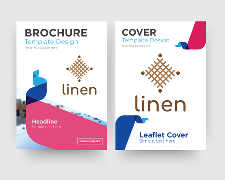 linen brochure flyer design template with abstract photo background, minimalist trend business corporate roll up or annual report