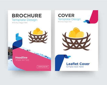 bird nest brochure flyer design template with abstract photo background, minimalist trend business corporate roll up or annual report