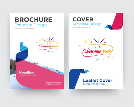 welcome back brochure flyer design template with abstract photo background, minimalist trend business corporate roll up or annual report
